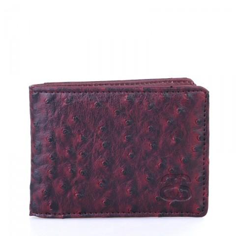 Купить бордовый  бумажник stussy ostrich bi-fold wallet в магазинах Streetball - изображение 1 картинки