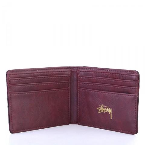 бордовый  бумажник stussy ostrich bi-fold wallet 136110-burgundy - цена, описание, фото 2