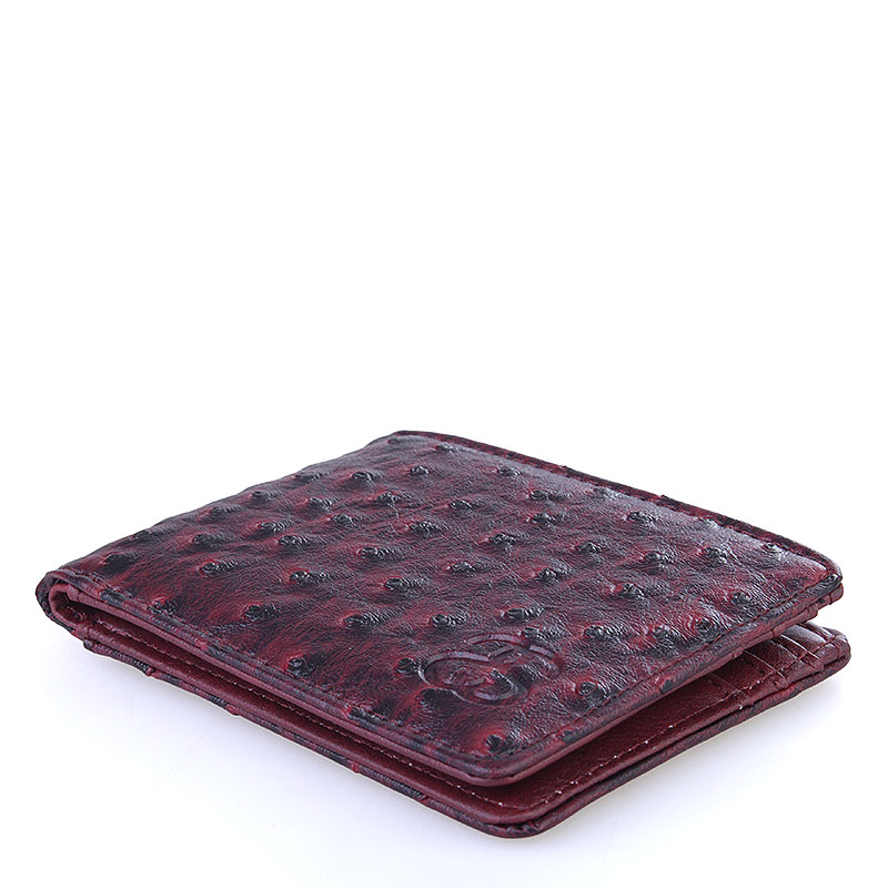 бордовый  бумажник stussy ostrich bi-fold wallet 136110-burgundy - цена, описание, фото 3