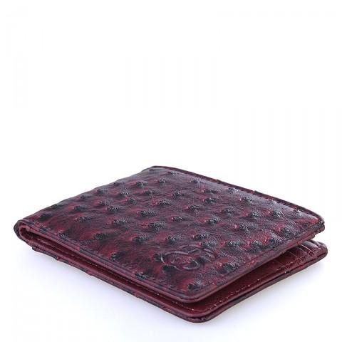 Купить бордовый  бумажник stussy ostrich bi-fold wallet в магазинах Streetball - изображение 3 картинки