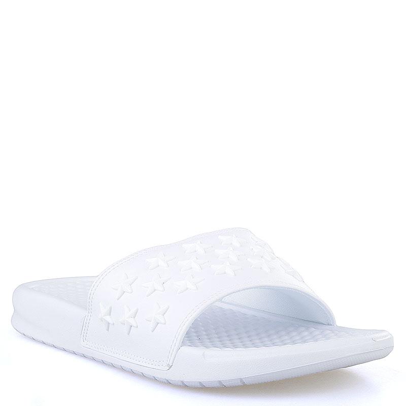 Сланцы Nike Sportswear Benassi JDI QSСланцы, балетки<br>Текстиль, синтетика<br><br>Цвет: Белый<br>Размеры US: 8<br>Пол: Мужской