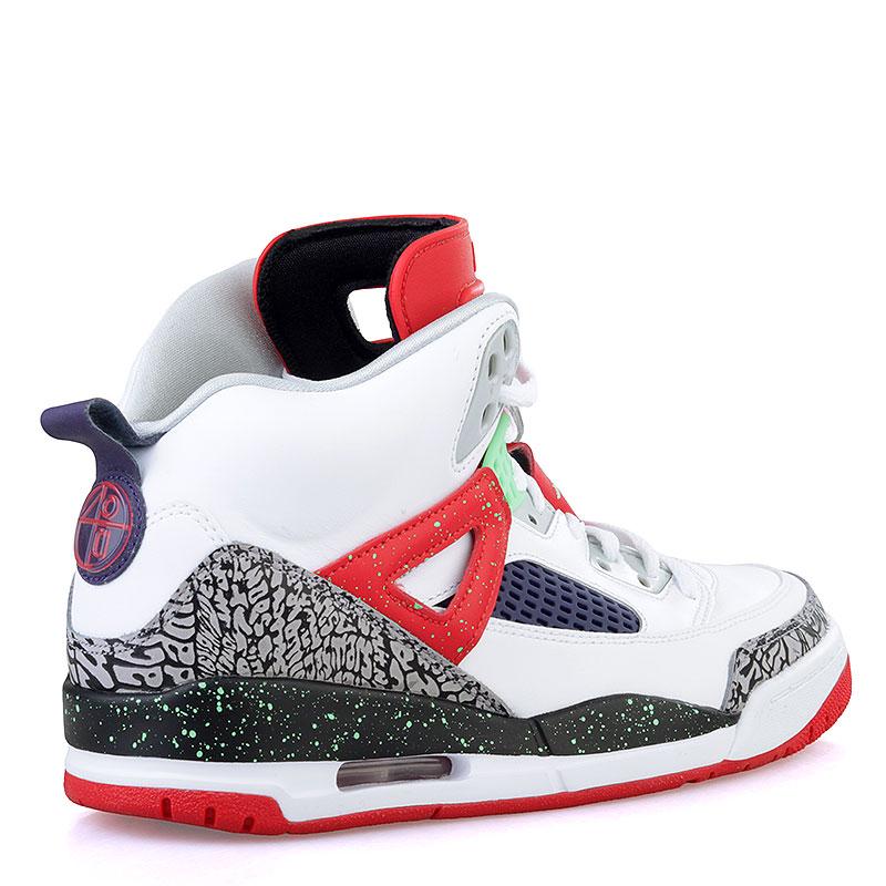 мужские белые, красные, салатовые  кроссовки jordan spizike 315371-132 - цена, описание, фото 2