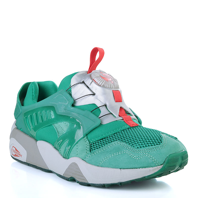Купить мужские зелёные, серые  кроссовки puma disc x trinomic x alife в магазинах Streetball изображение - 1 картинки