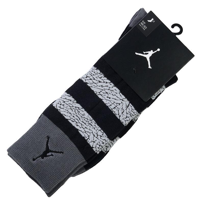Носки Jordan Elepahnt StripedНоски<br>Хлопок, нейлон, эластан<br><br>Цвет: Черный, серый<br>Размеры US: S;M;L;XL