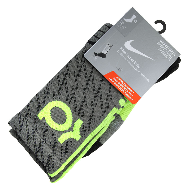 Носки Nike KD HypereliteНоски<br>Нейлон, полиэстер, хлопок, эластан<br><br>Цвет: Черный, серый, салатовый<br>Размеры US: M;L;XL