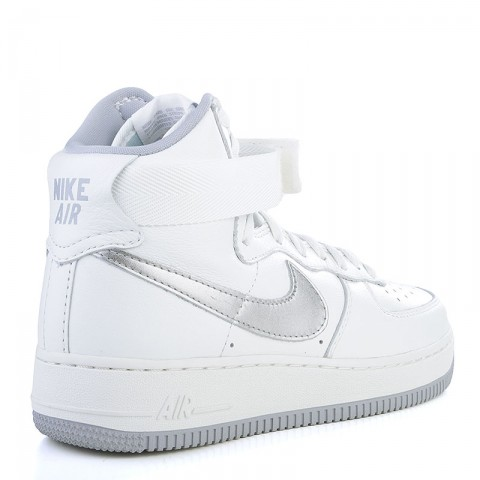 мужские белые, серые  кроссовки nike air force 1 hi retro qs 743546-101 - цена, описание, фото 2