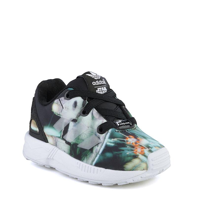 Кроссовки adidas Originals ZX Flux Millenium Falcon E - adidas OriginalsОбувь детская<br>Синтетика, текстиль, резина<br><br>Цвет: Чёрный, белый, зелёный<br>Размеры EUR: 19