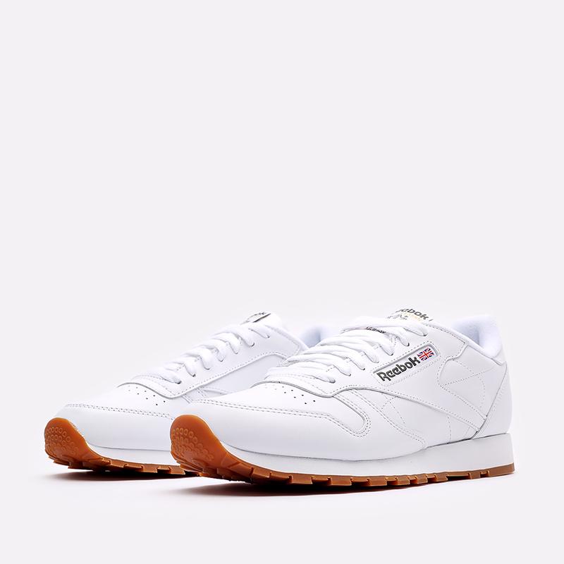 мужские белые  кроссовки reebok classic leather 49799 - цена, описание, фото 4