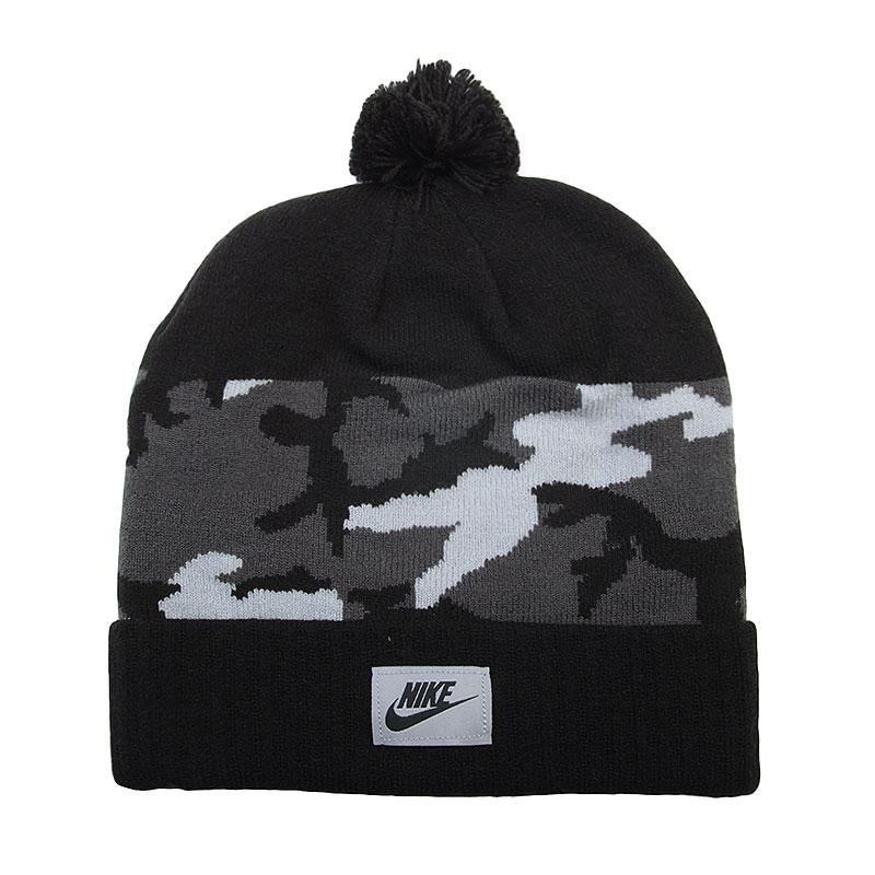 Шапка Nike Camo PomШапки<br>Акриловое волокно<br><br>Цвет: Черный, серый<br>Размеры US: 1SIZE