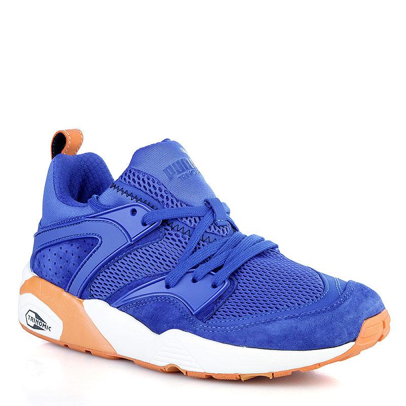 Купить мужские синие, белые, оранжевые  кроссовки puma blaze of glory nyk в магазинах Streetball изображение - 1 картинки
