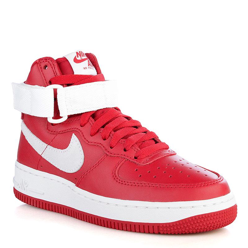 мужские красные, белые  кроссовки nike air force 1 hi retro qs 743546-600 - цена, описание, фото 2