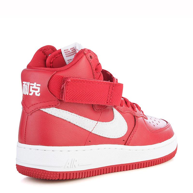 мужские красные, белые  кроссовки nike air force 1 hi retro qs 743546-600 - цена, описание, фото 3