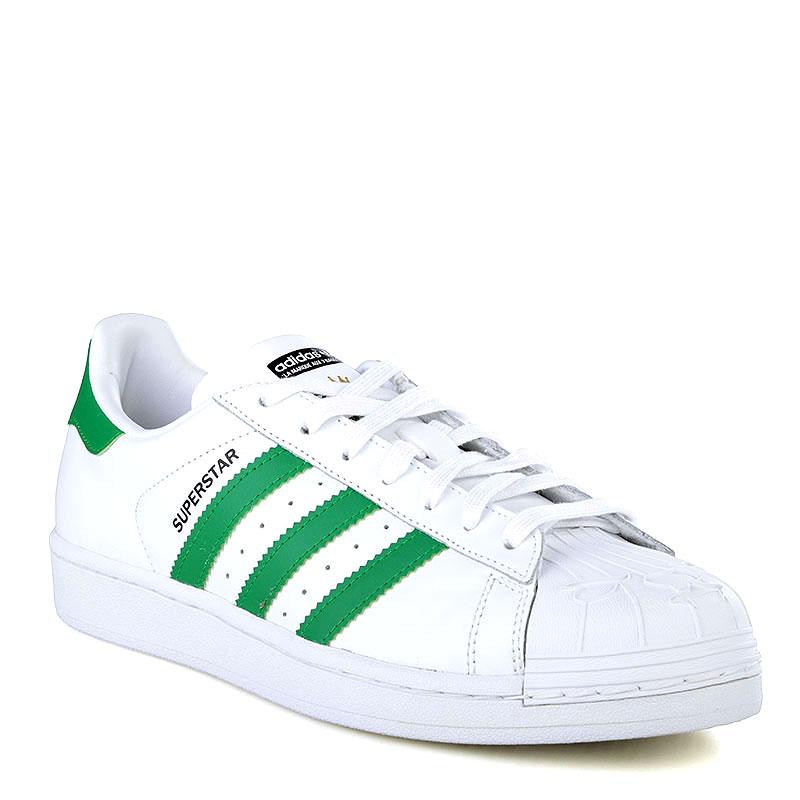 мужские белые, зеленые  кроссовки adidas superstar nigo bearfoot S83385 - цена, описание, фото 1