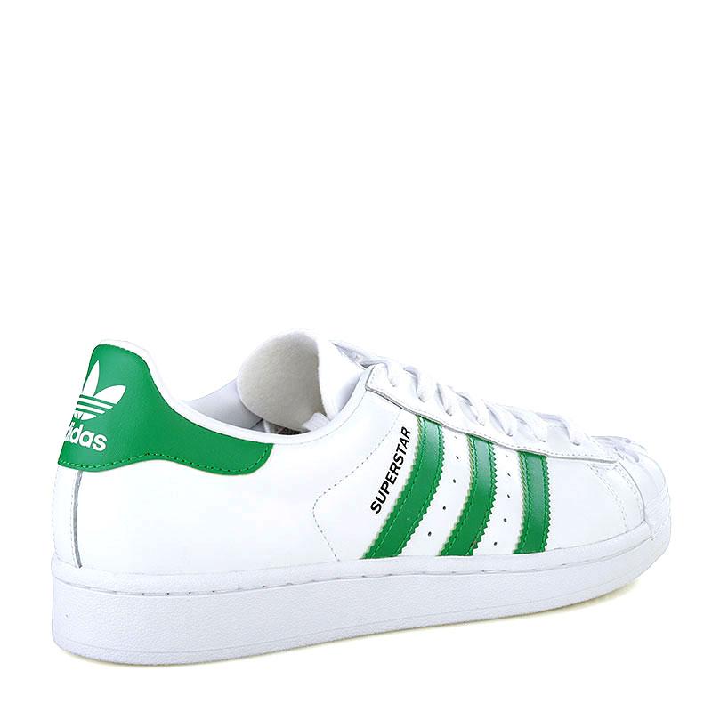 мужские белые, зеленые  кроссовки adidas superstar nigo bearfoot S83385 - цена, описание, фото 2