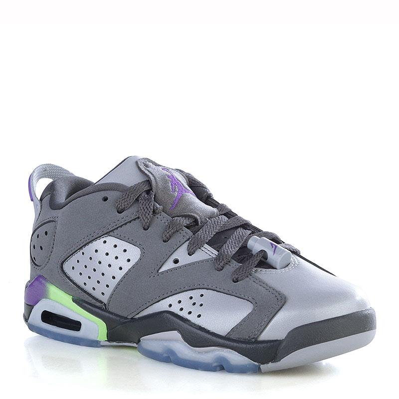 Кроссовки Air Jordan VI Retro Low GGКроссовки lifestyle<br>Кожа, текстиль, резина<br><br>Цвет: Серый, фиолетовый, салатовый, голубой, чёрный<br>Размеры US: 5.5Y<br>Пол: Женский