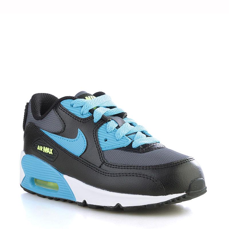61bd1b3f1acf детские чёрные, белые, голубые кроссовки nike air max 90 mesh (ps) 724825