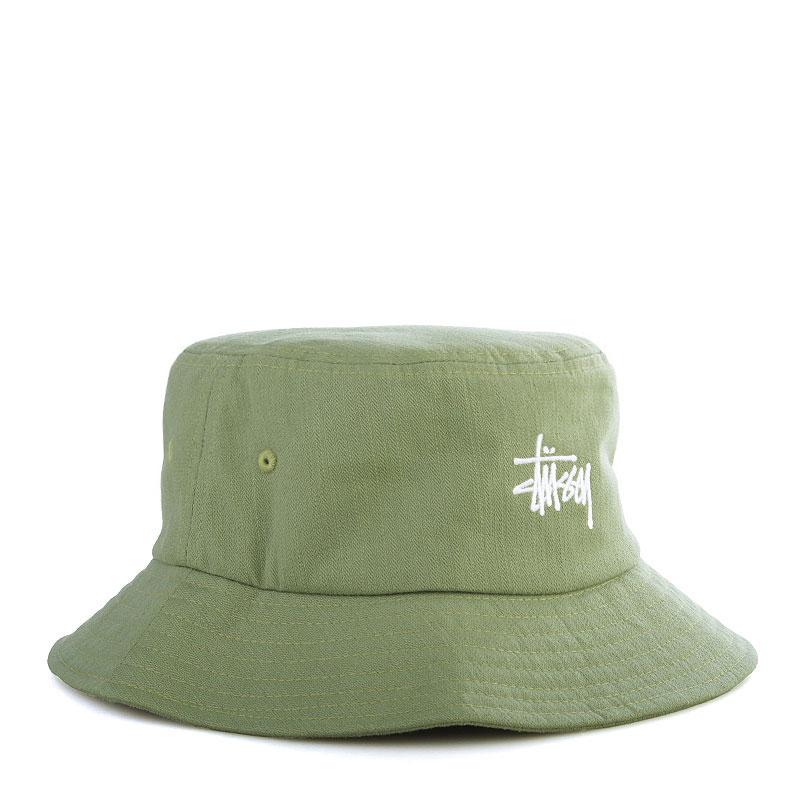 мужскую оливковую  панама stussy smooth herringbone bucket hat 132691-olive - цена, описание, фото 1