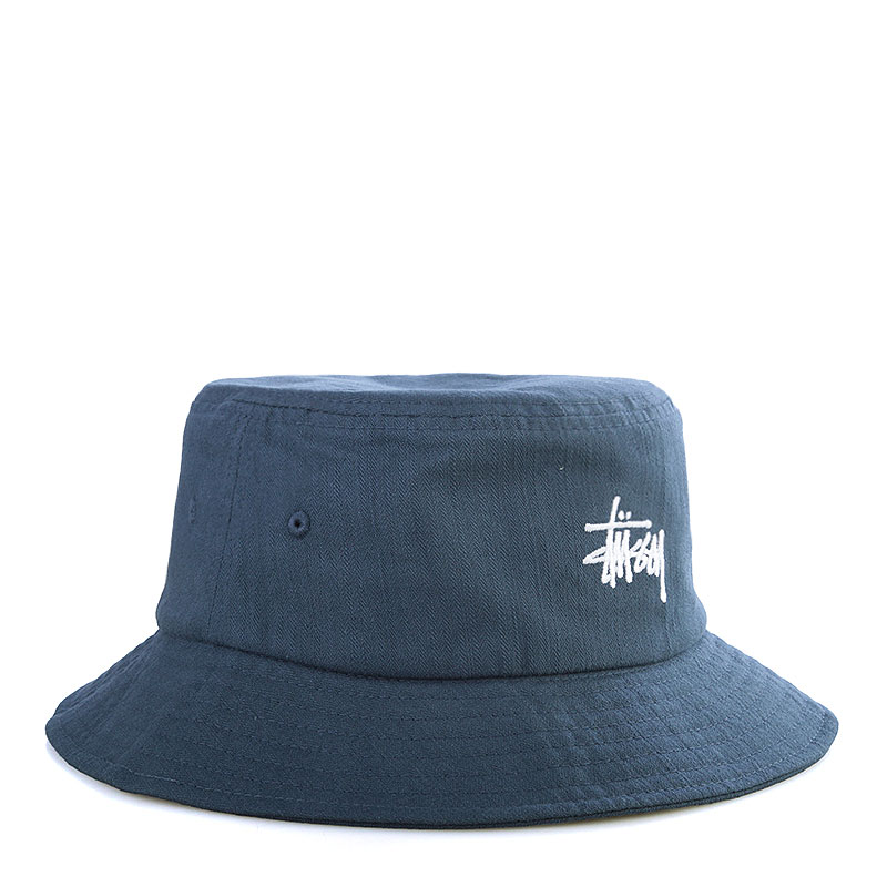 Купить мужскую синюю  панама stussy smooth herringbone bucket hat в магазинах Streetball изображение - 1 картинки
