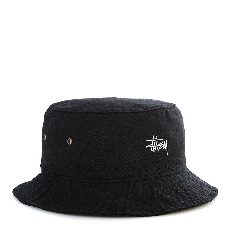 Купить мужскую черную  панама stussy smooth crusher bucket hat в магазинах Streetball изображение - 1 картинки