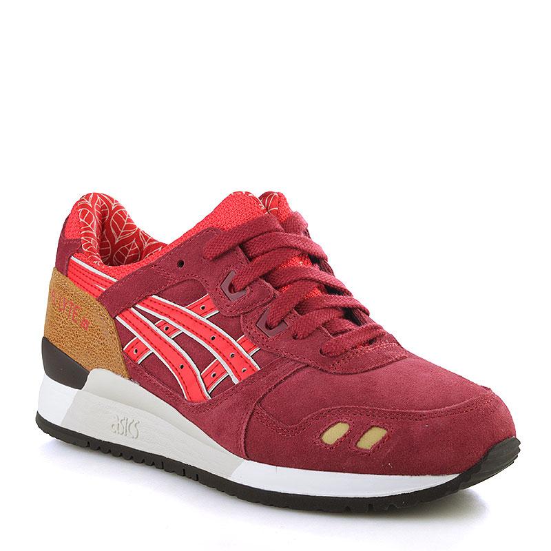 de2b59df женские бордовые, красные, белые кроссовки asics tiger gel-lyte iii 'autumn  brights