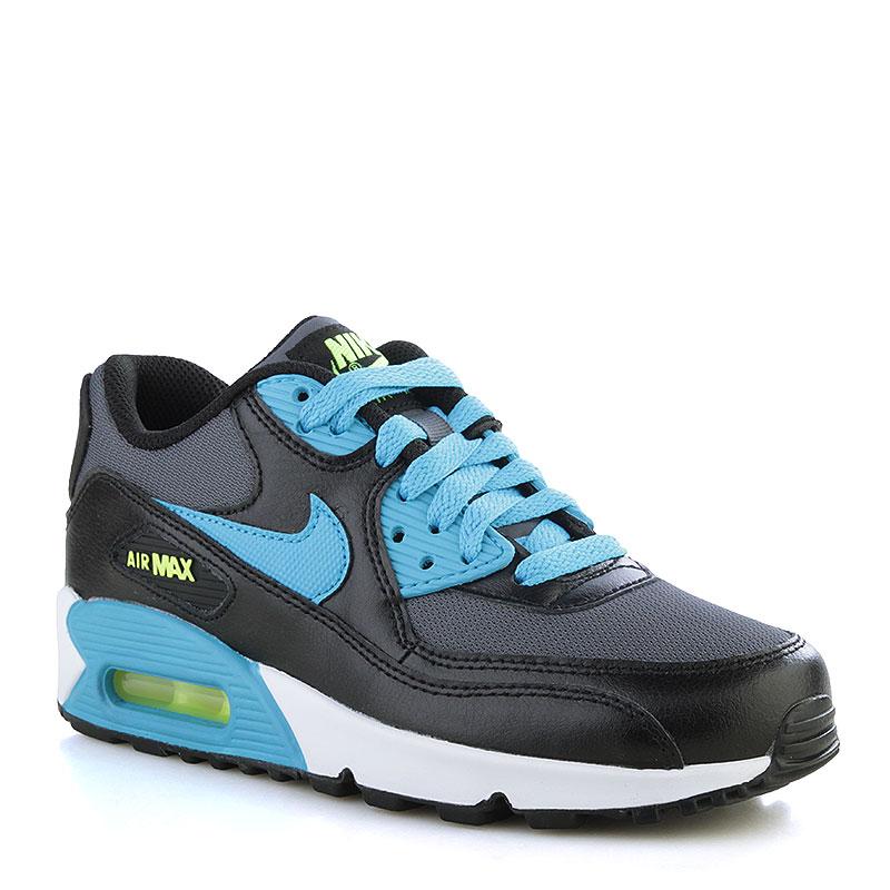 Кроссовки Nike Air Max 90 Mesh GSОбувь детская<br>Кожа, текстиль, резина<br><br>Цвет: Чёрный, белый, голубой<br>Размеры US: 3.5Y<br>Пол: Детский