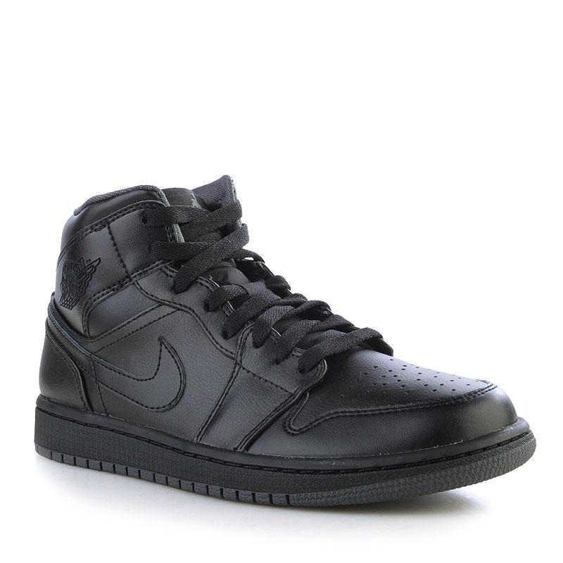 Кроссовки Air Jordan 1 MidКроссовки lifestyle<br>Кожа, текстиль, резина<br><br>Цвет: Черный<br>Размеры US: 8;8.5;9;9.5;11;11.5;12;12.5