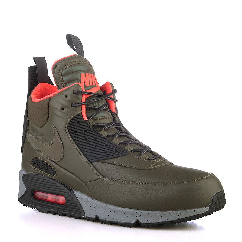 5a3e23d5 мужские зелёные, чёрные, коралловые ботинки nike air max 90 sneakerboot  wntr 684714-300