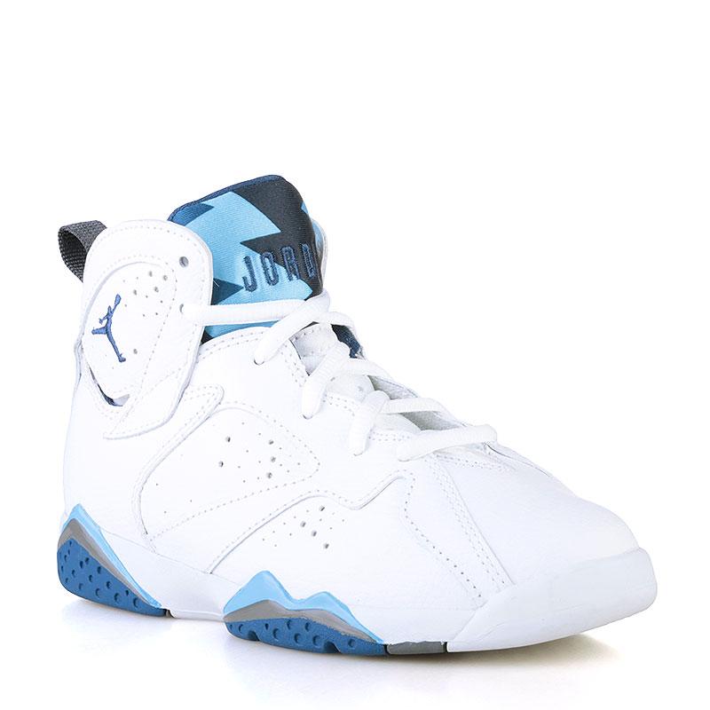 Кроссовки Jordan VII Retro BPОбувь детская<br>Кожа, текстиль, резина<br><br>Цвет: Белый, голубой, синий<br>Размеры US: 1Y<br>Пол: Детский
