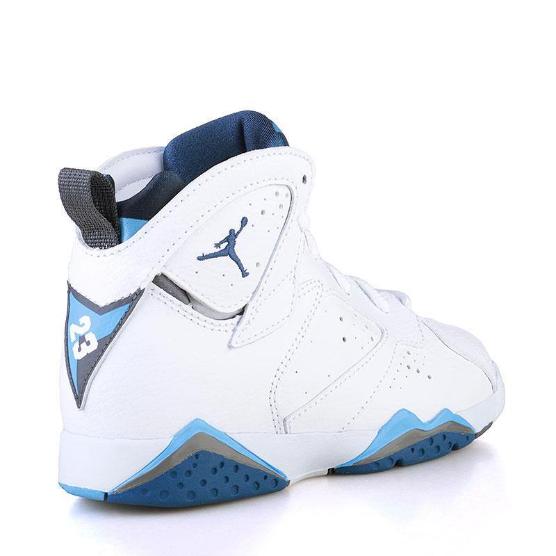 детские белые, голубые, синие  кроссовки jordan vii retro bp 304773-107 - цена, описание, фото 2