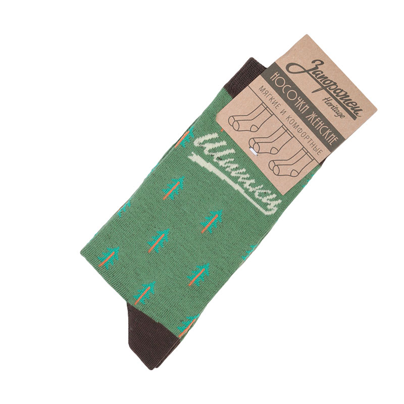 Носки Запорожец heritage W ШишкиНоски<br>95% хлопок 5% эластан<br><br>Цвет: Зеленый<br>Размеры : OS<br>Пол: Женский