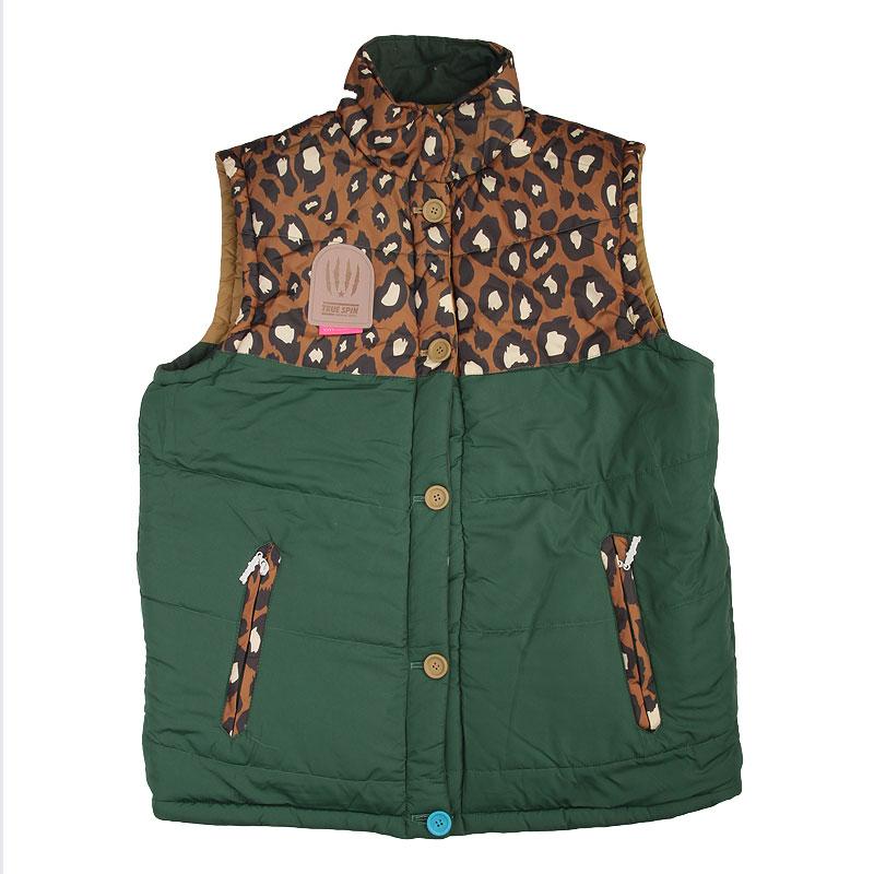 Купить мужской зеленый  жилет true spin alaska vest leopard в магазинах Streetball изображение - 3 картинки
