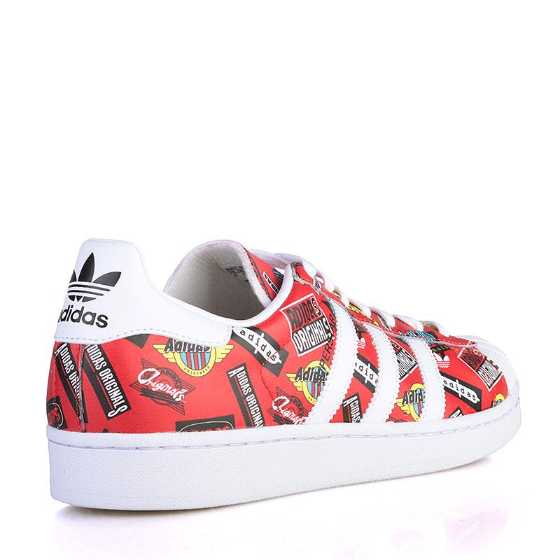 Купить мужские красные, белые  кроссовки adidas superstar nigo aop в магазинах Streetball изображение - 2 картинки