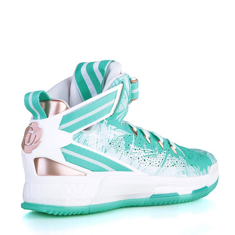 Купить мужские голубые, белые, золотые  кроссовки adidas d rose 6 boost в магазинах Streetball изображение - 2 картинки