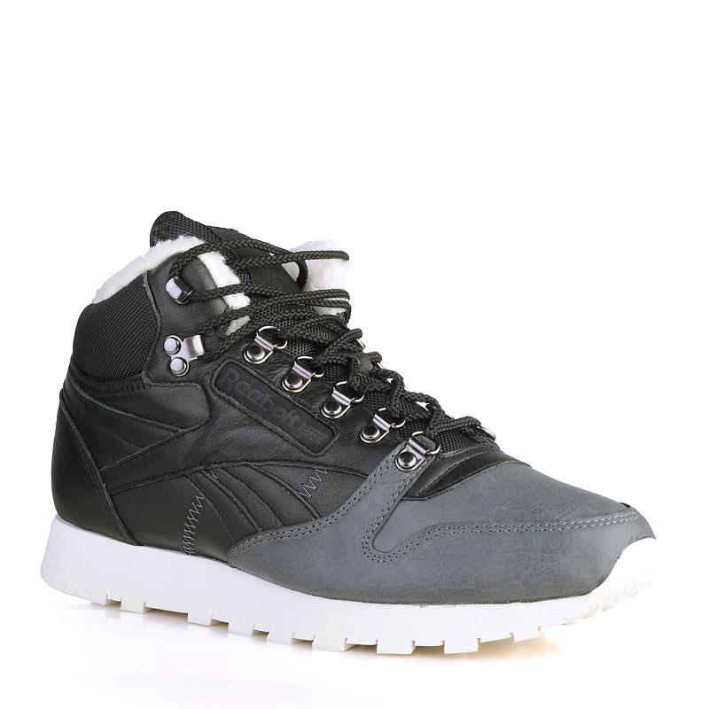 Ботинки Reebok CL Leather Mid SherpaБотинки<br>Кожа, текстиль, резина<br><br>Цвет: Чёрный, серый, белый<br>Размеры US: 8<br>Пол: Мужской