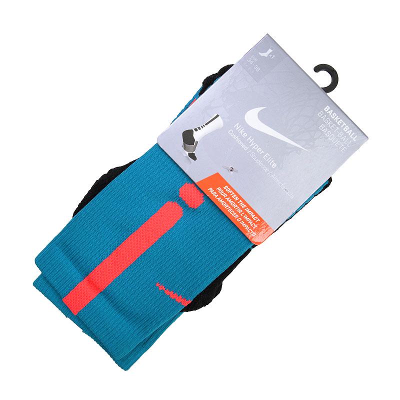 Носки Nike Hyper Elite Basketball Crew SocksНоски<br>Нейлон, полиэстер, хлопок, эластан<br><br>Цвет: Голубой, коралловый, чёрный, серый<br>Размеры US: S;M;L;XL<br>Пол: Мужской