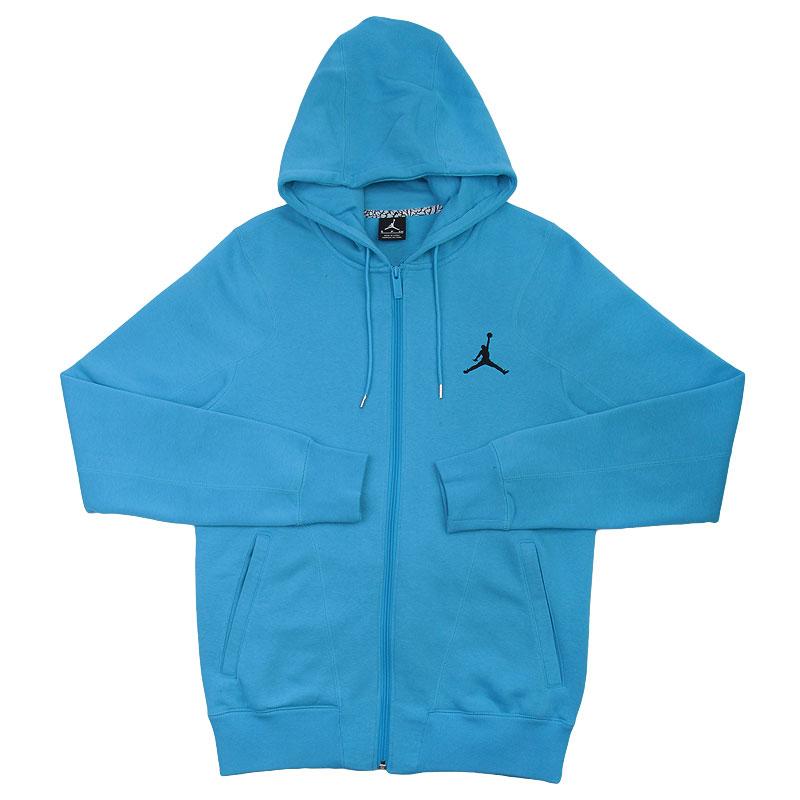 Купить мужскую голубую  толстовка jordan full zip hoody в магазинах Streetball изображение - 1 картинки