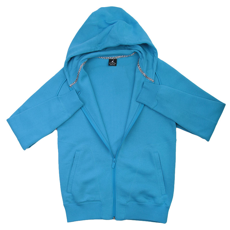 Купить мужскую голубую  толстовка jordan full zip hoody в магазинах Streetball изображение - 2 картинки