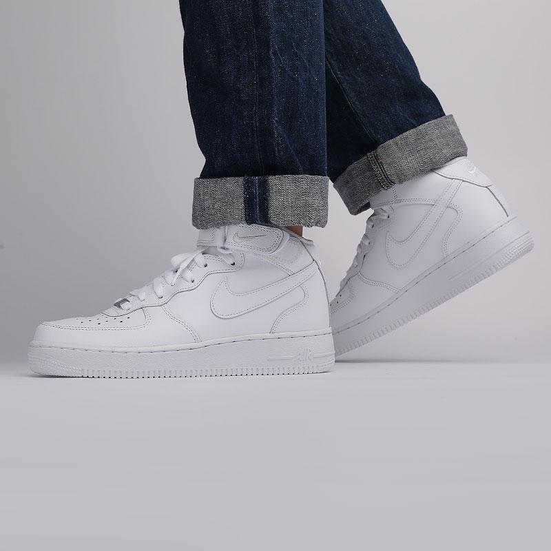 мужские белые  кроссовки nike air force 1 mid`07 315123-111 - цена, описание, фото 9