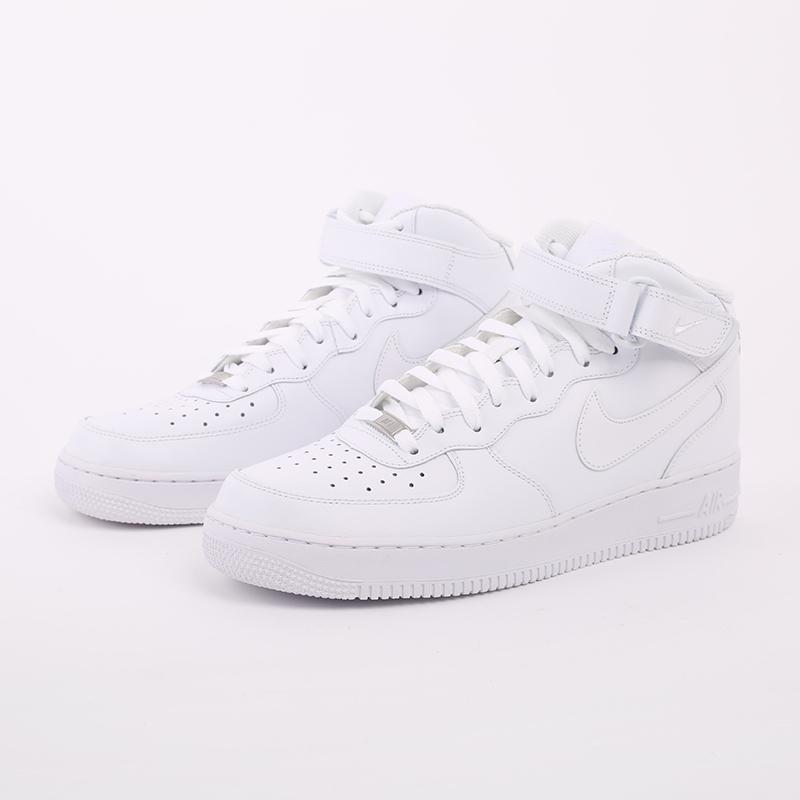 мужские белые  кроссовки nike air force 1 mid`07 315123-111 - цена, описание, фото 6