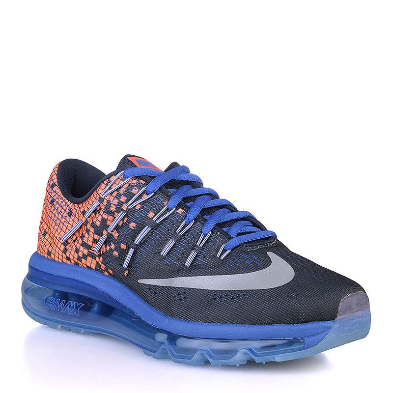 Кроссовки Nike Air Max 2016 Print GSОбувь детская<br>Текстиль, резина<br><br>Цвет: Чёрный, синий, оранжевый<br>Размеры US: 6Y<br>Пол: Детский