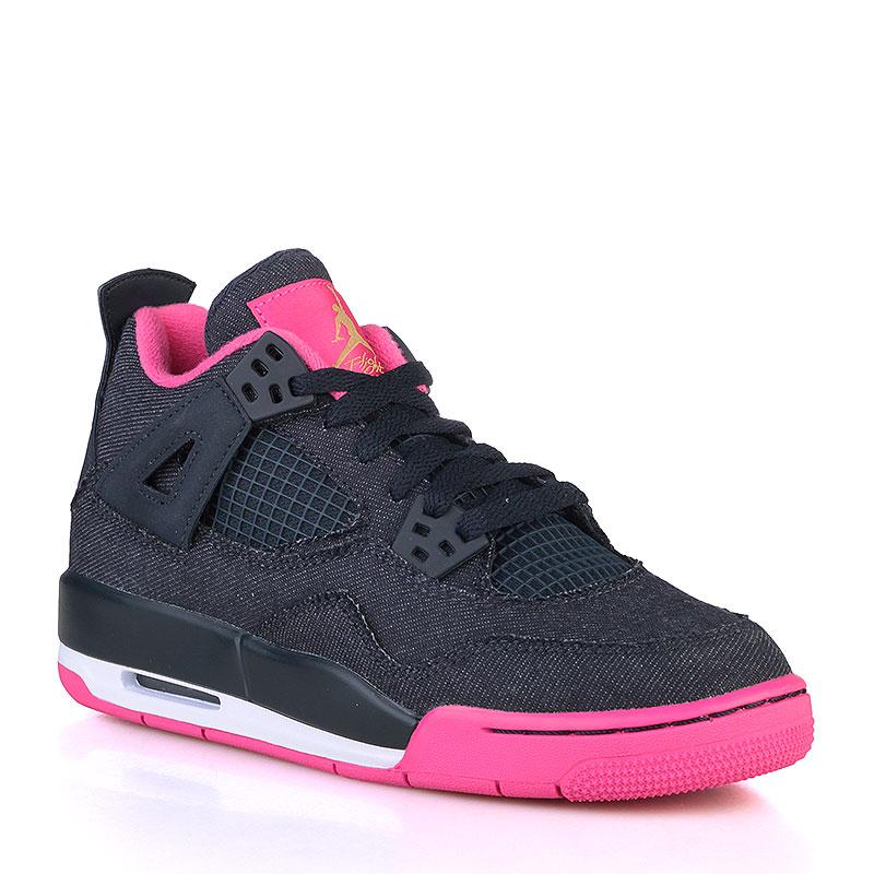 Кроссовки Air Jordan IV Retro GGОбувь детская<br>Текстиль, резина<br><br>Цвет: Тёмно-синий, малиновый<br>Размеры US: 3.5Y;4Y;4.5Y;5Y;8Y;8.5Y;9Y;9.5Y<br>Пол: Детский