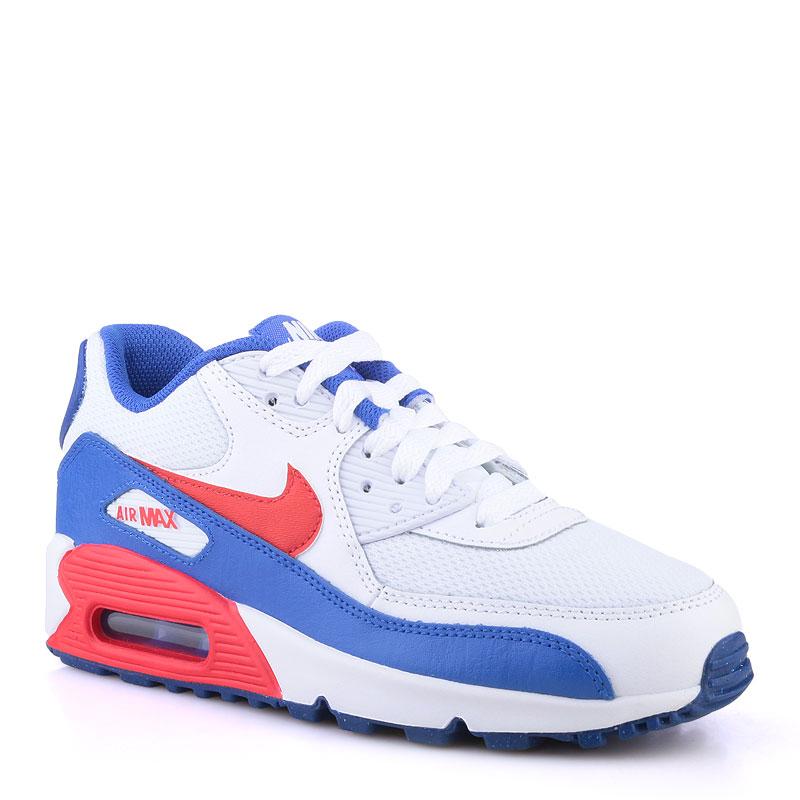 ce6e1e59 детские белые,синие,красные кроссовки nike air max 90 mesh 724824-104 -