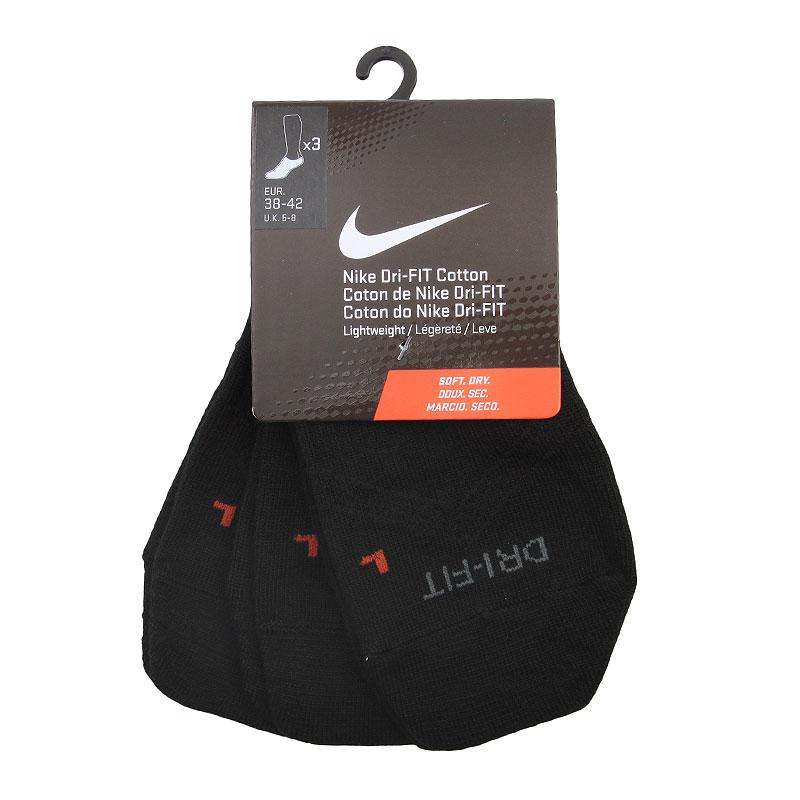 Носки Nike 3PPK Dri-FIT LightweightНоски<br>Полиэстер, хлопок, эластан, нейлон<br><br>Цвет: Черный<br>Размеры US: M<br>Пол: Мужской