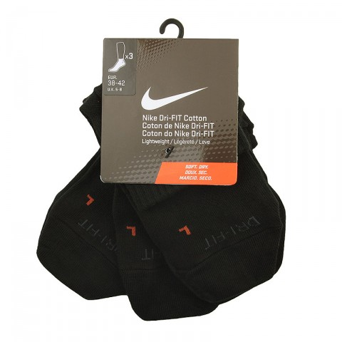 Купить мужские черные  носки nike 3ppk dri-fit lightweight qtr в магазинах Streetball - изображение 1 картинки