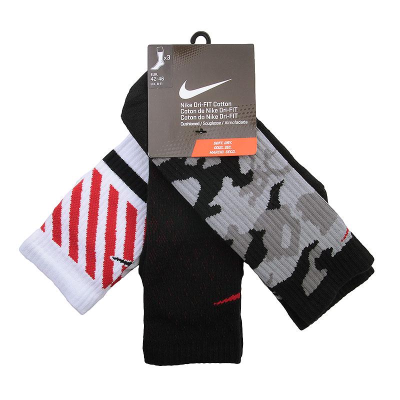 мужские черные, серые, красные, белые  носки nike dri-fit triple fly crew SX4966-905 - цена, описание, фото 1