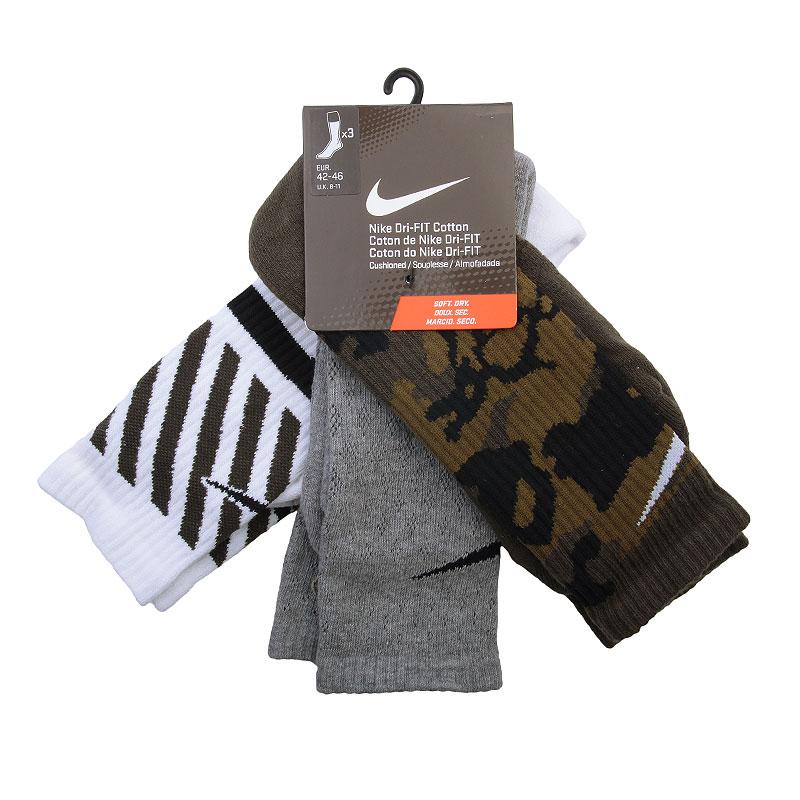 мужские чёрные, серые, белые, болотные  носки nike dri-fit triple fly crew SX4966-901 - цена, описание, фото 1