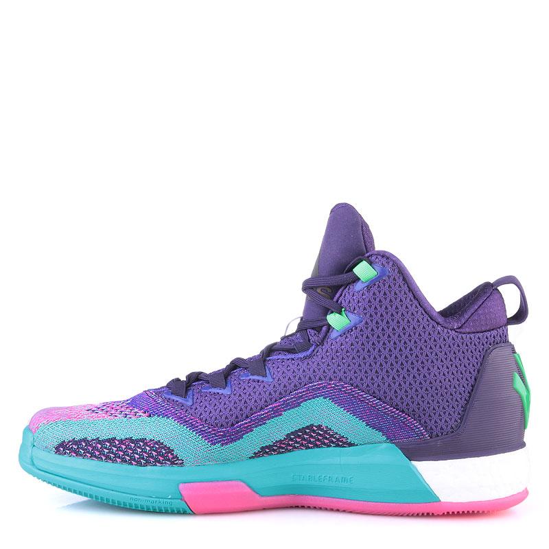 мужские фиолетовые,бирюзовые, розовые  кроссовки adidas j wall 2 boost primeknit D70028 - цена, описание, фото 3