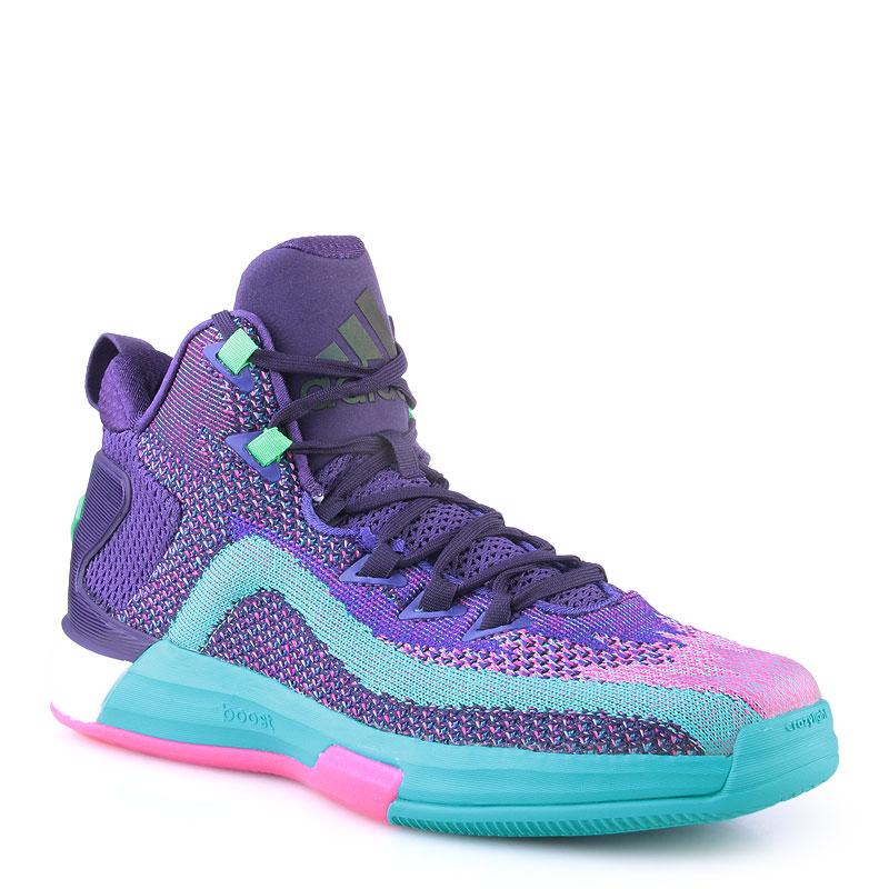 мужские фиолетовые,бирюзовые, розовые  кроссовки adidas j wall 2 boost primeknit D70028 - цена, описание, фото 1