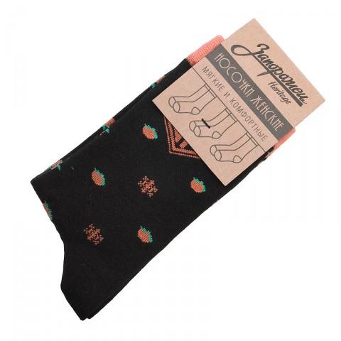 женские черные  носки запорожец heritage апельсин и снежинки W Апел и Снеж-blk - цена, описание, фото 1