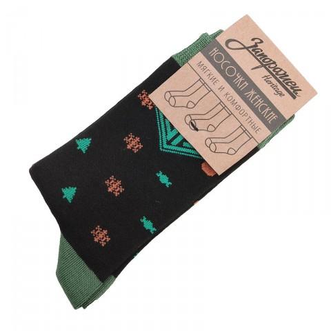 женские черные  носки запорожец heritage ёлки и снежинки W Елки и Снеж-blk - цена, описание, фото 1